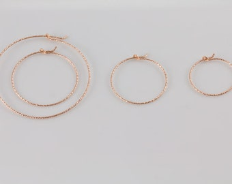 Rose Gold Sparkle Hoop Earrings, Available in Different Sizes, Simple, Everyday Wear, Minimal Earrings, Lightweight Gold Hoops GFER46