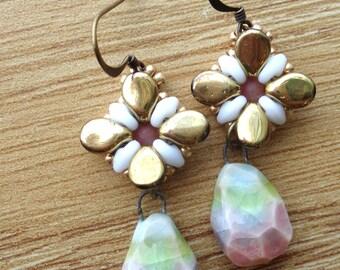 Ceramic Flower Drop Earrings