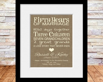 Ideas For 50th Wedding Anniversary Present : 50th Anniversary Gift, Fun 50th Wedding Anniversary Print ...