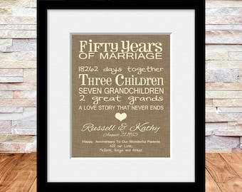 50th anniversary gift fun 50th wedding anniversary print personalized parents anniversary gift a
