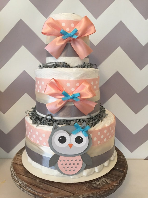 Owl diaper cake in coral and grey owl baby shower for Baby shower diaper decoration