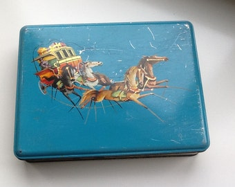 Beautiful Vintage Tin Box with Horses