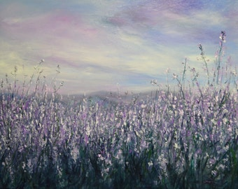 "Modern Purple Flowers Fine Art Floral  Impasto Palette Knife Painting,  Impressionistic, Spring flower, landscape,contemporary , 24x20"""""