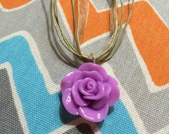 Resin Rose Pendant w/ Organza Ribbon Necklace