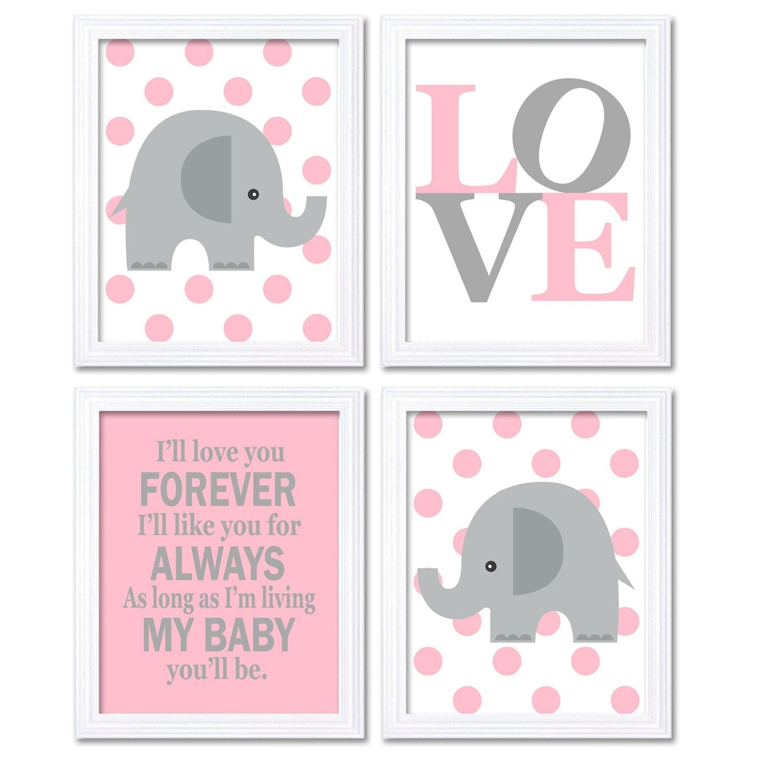 Elephant Nursery Art Girl Pink Grey Set of 4 Prints Ill Love Your Forever I Like You For Always As L