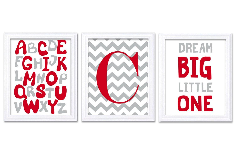 Red Grey Nursery Art Print Set of 3 Dream Big Little One Alphabet Custom Letter Monogram Nursery Dec