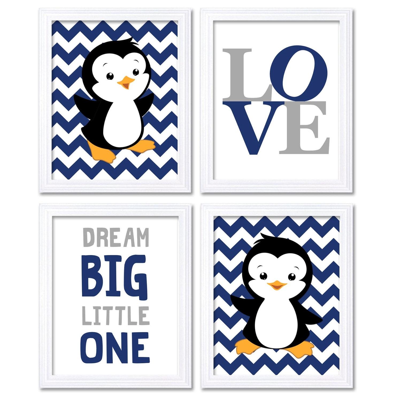 Penguin Nursery Art Baby Navy Blue Grey Dream Big Little One LOVE Set of 4 Prints Penguin Wall Decor