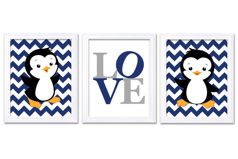Penguin Nursery Art Set of 3 Prints LOVE Navy Blue Grey Gray Penguin Wall Decor Baby Boy Chevron Chi