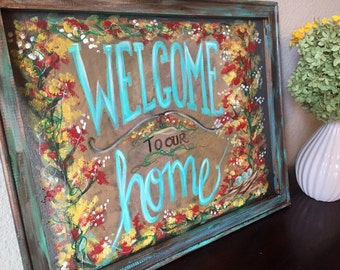 Welcome to our home sign,outdoor,window screen,hand painting