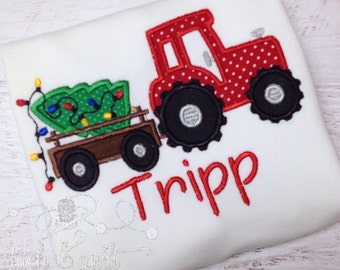 Christmas Tractor with Tree Shirt, Christmas Custom shirt, Boys Christmas Shirt, Boys Holiday Shirt,