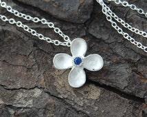 Silver Sapphire Necklace, Flower Necklace, Silver Flower Pendant, Dainty Necklace, Bridesmaids Necklace, 925 Silver Necklace,Silver Gemstone