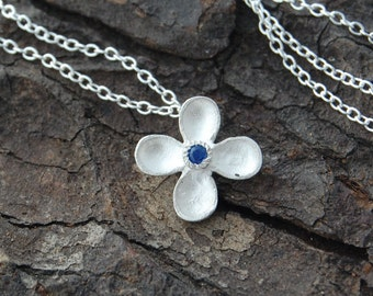 Silver Sapphire Necklace, Flower Necklace, Silver Flower Pendant, Dainty Necklace, Bridesmaids Necklace, 925 Silver Necklace,Silver Gemstone