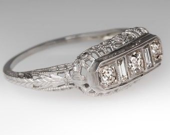 Antique 1920's Art Deco Filigree Old Euro Diamonds 18K White Gold Anniversary Ring WM10497