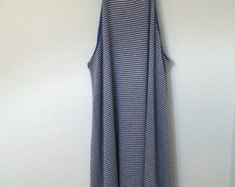 Blue Knit High Neck Dress