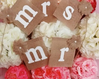 Burlap/Hessian Mr & Mrs chair sign/banner