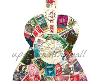 Postage stamp Guitar. Stamps from the 60's. 8x10 print of original.