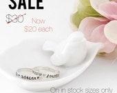 SALE - Hand stamped Rings, sterling silver, name rings, 3mm rings, custom rings