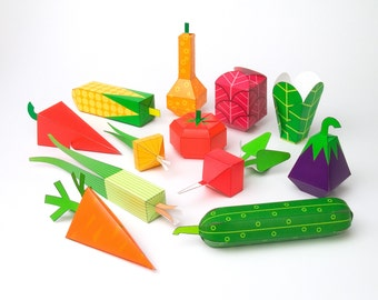 Vegetables | DIY Paper Craft Kit | 3D Paper Toys | Colourful Cutouts to Assemble | Creative Activity