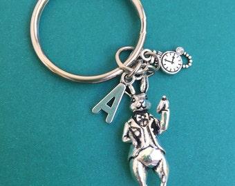 Alice in Wonderland Rabbit Keychain /Alice Wonderland Rabbit Key Chain/ Wonderland Rabbit Keyring/ Alice Rabbit Watch Necklace