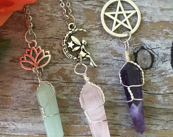 Crystal Fairy Necklace/ Wrapped Crystal Necklace/ Lotus Crystal Necklace/ Crystal Pentacle Necklace/ Wrapped Crystals/ Gemstone Necklace