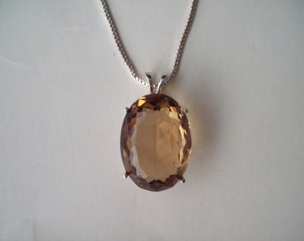 HUGE Champagne Quartz Pendant in Sterling Silver Setting with Chain - 25x18mm