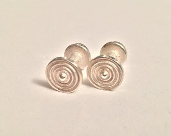 0.925 Sterling Silver Cuff Links : Art Deco, Embedded Circles