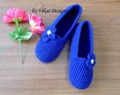 Crochet Slippers, Womens Blue Slippers, Simply Crochet Indoor House Shoes by Vikni Designs