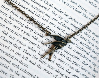 Bronze Swallow Bird Necklace