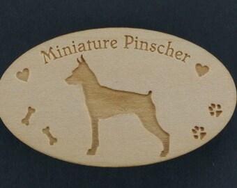 Original Design Miniature Pinscher Wood Magnet