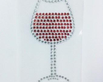 Wine Glass Iron on Rhinestone Transfer