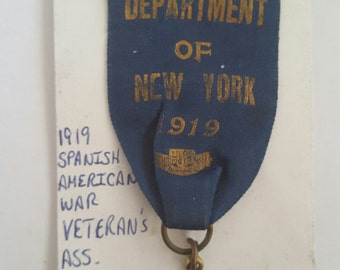 Vintage Spanish American War Veterans Convention Delegate badge from Department of New York, 1919, Gilded