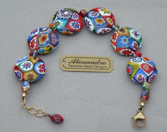 "Millefiori Murano Glass, Venetian Beads, 22mm ""Fine"" Millefiori Discs, Handmade, Italian Lampworked Beaded Bracelet"