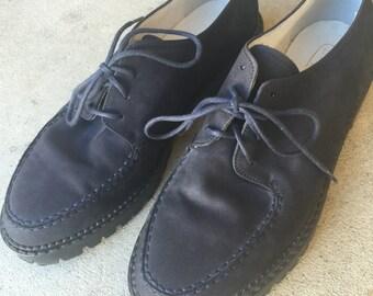 las enredaderas mínimo azul marino Vintage / / minimal oxfords / azul zapatos creeper / / pequeño tamaño zapatos //vintage pisos //leather Oxford