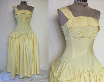 """Outstanding 1940s gown ultra fitted 1 shoulder bodice, super full panier shape skirt bust 32"""" Cotillion label"""