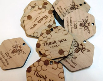 50 - 1.5 x 1.5 Honey Tags - Custom Wedding Tags - Wood Wedding Tags