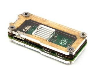 Zebra Zero Raspberry Pi Zero Case - Wood  Heatsink