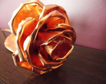 Copper rose, perfect handcrafted metal flower