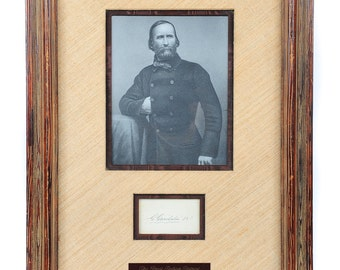 Giuseppe Garibaldi (1807-88) original autographed card w/Photo Portrait -Rare