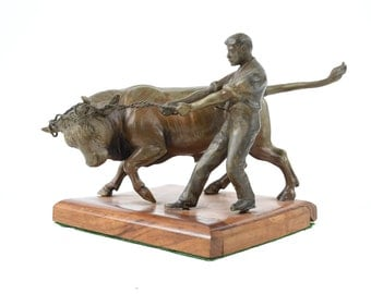 "Roping a Bull - 5"" Table top Bronze sculpture"