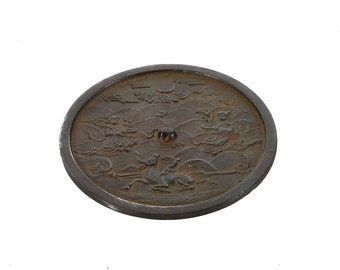 18th century Antique Korean Bronze Mirror w/Figural Etchings