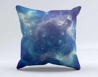 The Subtle Blue and Green Nebula ink-Fuzed Decorative Throw Pillow