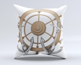 The Nautical Captain's Wheel with anchors  ink-Fuzed Decorative Throw Pillow