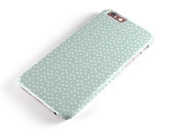 The Mint and White Micro Polka Dots - Candy Shell Clip-On Case for the iPhone6-6s or 6-6sPlus/5s/SE/5c/iPadPro/Air/Mini 4/Mini 1-2-3