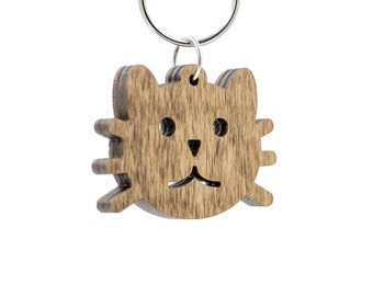 Cat Keychain - Kitty Cat Carved Wood Key Ring - Cat Face Wooden Engraved Charm - Kitten Keychain - Kitty Keychain