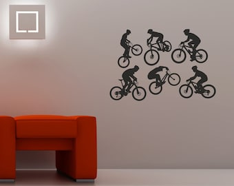 Mountain Bike action silhouettes set 6 Wall Art Quality New Stickers.