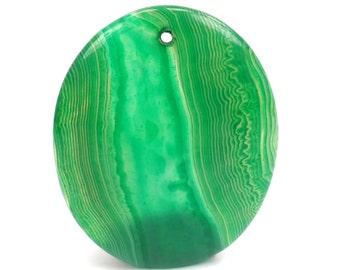 Green Onyx Agate Pendant, Kelly Green Gemstone Focal Bead G973