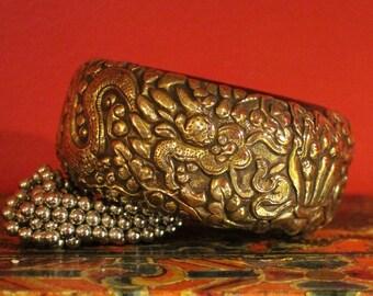 Vintage Gilded Tibetan Silver Repousse Animal Spirit Cuff Bracelet