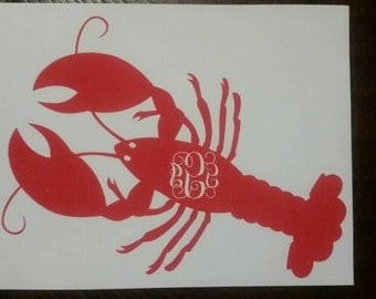 Monogram beach lobster / crawfish iron on