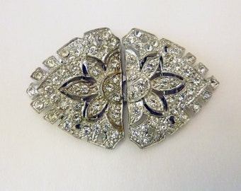Art Deco pot metal belt buckle with clear rhinestones craft supply costume sewing accessory