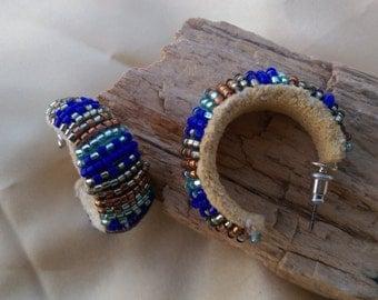 native american beaded hoops earrings